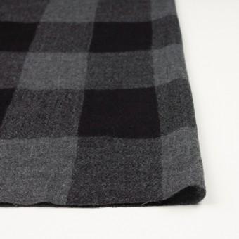 ウール×チェック(チャコールグレー&ブラック)×ガーゼ サムネイル3