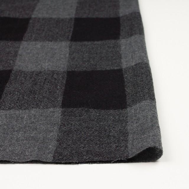 ウール×チェック(チャコールグレー&ブラック)×ガーゼ イメージ3