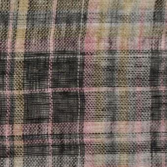 リネン×チェック(ピンク&ブラック)×ガーゼ_全3色