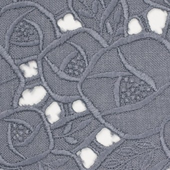 リネン×フラワー(ラベンダーグレー)×薄キャンバス刺繍_全2色