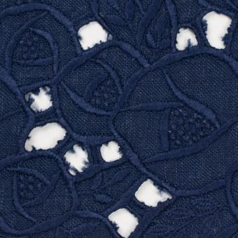 リネン×フラワー(ネイビー)×薄キャンバス刺繍_全2色