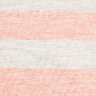 コットン&モダール×ボーダー(サーモンピンク&杢グレー)×天竺ニット_全3色