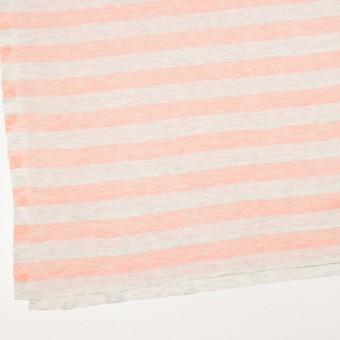 コットン&モダール×ボーダー(サーモンピンク&杢グレー)×天竺ニット_全3色 サムネイル2