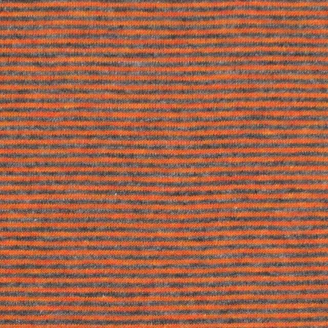 コットン×ボーダー(オレンジ&グレー)×接結天竺ニット イメージ1