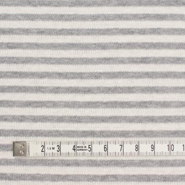 コットン×ボーダー(アイボリー&グレー)×リブニット イメージ4