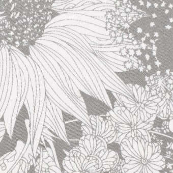 コットン&ポリウレタン×フラワー(グレー)×サテン・ストレッチ サムネイル1
