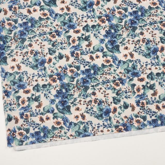コットン&ポリウレタン×フラワー(ベージュ&ブルー)×チノクロス・ストレッチ イメージ2