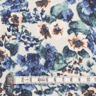 コットン&ポリウレタン×フラワー(ベージュ&ブルー)×チノクロス・ストレッチ サムネイル4
