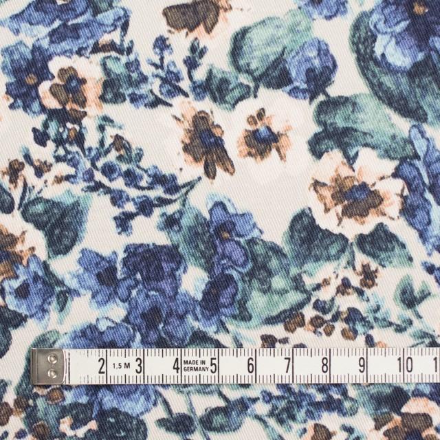 コットン&ポリウレタン×フラワー(ベージュ&ブルー)×チノクロス・ストレッチ イメージ4