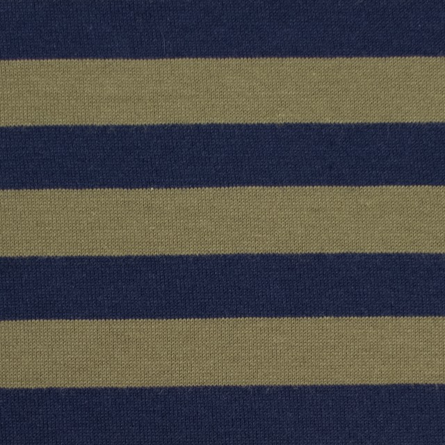 コットン×ボーダー(カーキグリーン&ネイビー)×天竺ニット イメージ1