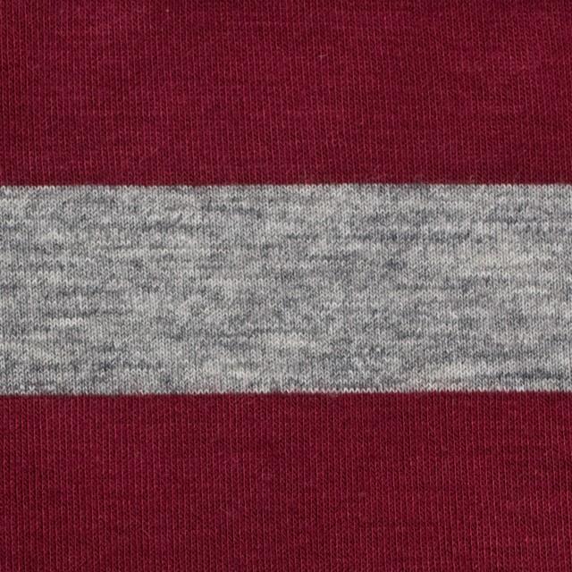 コットン&ポリエステル×ボーダー(エンジ&グレー)×天竺ニット イメージ1