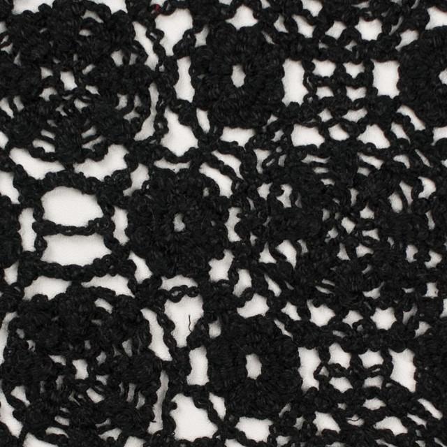 コットン×フラワー(ブラック)×クロッシュレース_全5色 イメージ1