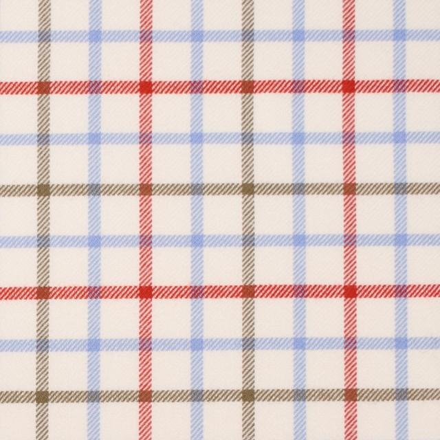 コットン×チェック(サックス&レッド、カーキ)×サージ_イングランド製 イメージ1