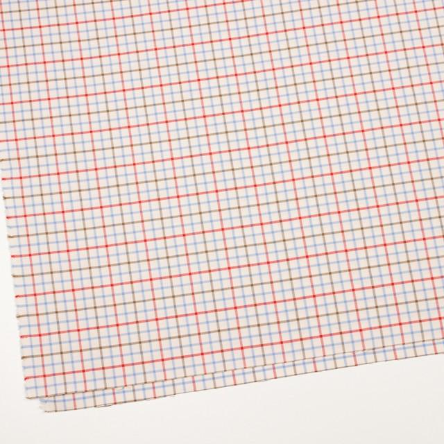 コットン×チェック(サックス&レッド、カーキ)×サージ_イングランド製 イメージ2
