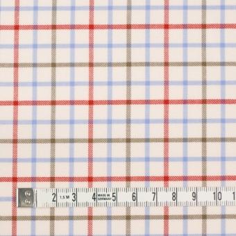 コットン×チェック(サックス&レッド、カーキ)×サージ_イングランド製 サムネイル4