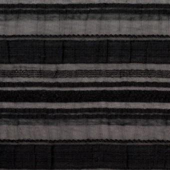 ナイロン&リネン混×ボーダー(ブラック)×オーガンジー・ジャガード_全4色