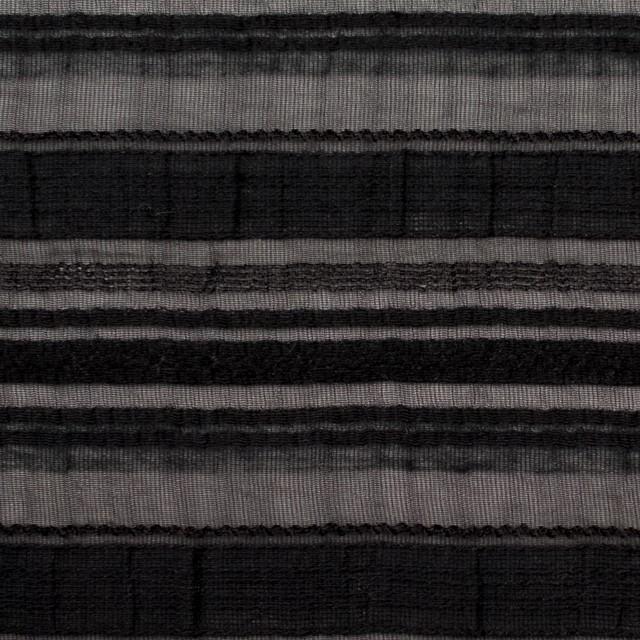 ナイロン&リネン混×ボーダー(ブラック)×オーガンジー・ジャガード_全4色 イメージ1
