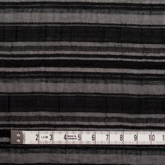 ナイロン&リネン混×ボーダー(ブラック)×オーガンジー・ジャガード_全4色 イメージ4
