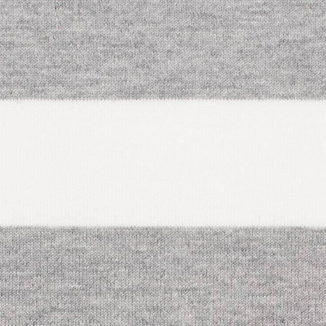 コットン×ボーダー(ホワイト&ライトグレー)×天竺ニット_全4色 イメージ1