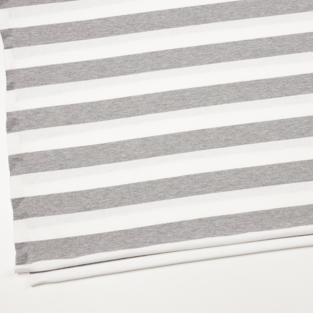 コットン×ボーダー(ホワイト&ライトグレー)×天竺ニット_全4色 イメージ2