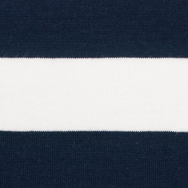 コットン×ボーダー(ホワイト&ダークネイビー)×天竺ニット_全4色 イメージ1
