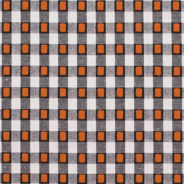 コットン×チェック(ホワイト&オレンジ、ブラック)×ドビーブロード イメージ1