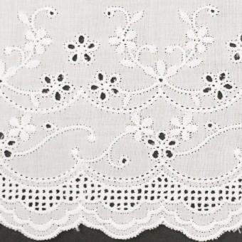 コットン×ボーダー(オフホワイト)×ローン刺繍No1_全2色