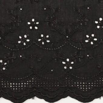 コットン×ボーダー(ブラック)×ローン刺繍No1_全2色 サムネイル1