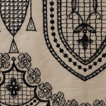 コットン×幾何学模様(オークルベージュ)×ローン刺繍_全2色