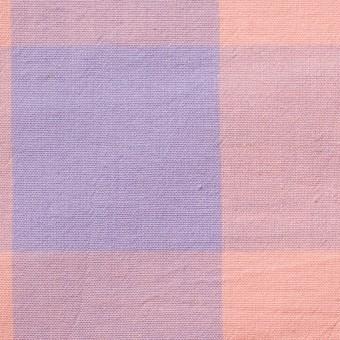 コットン&リネン×ブロックチェック(サーモンピンク)×シーチングワッシャー_全3色
