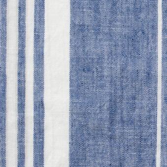 コットン&リネン×ストライプ(ブルー&ライトグレー)×薄シーチングワッシャー_全5柄