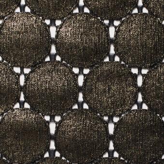 キュプラ&ナイロン×輪模様(ブラック+ゴールドラメ箔)×ラッセルレース_全2色