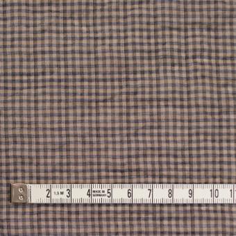 コットン&ポリウレタン×チェック(モカブラウン&ネイビー)×ボイルシャーリング_全3色 サムネイル4