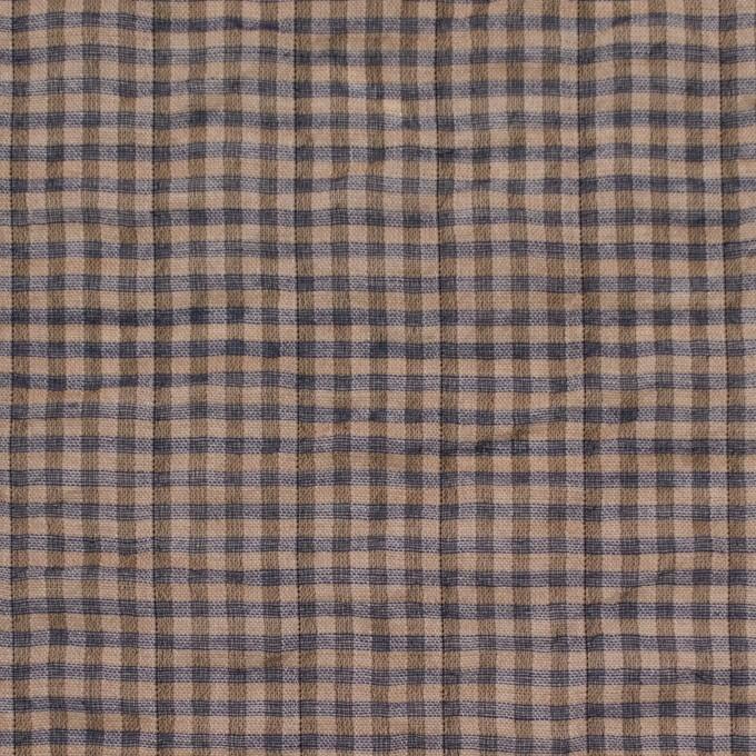 コットン&ポリウレタン×チェック(モカブラウン&ネイビー)×ボイルシャーリング_全3色 イメージ1