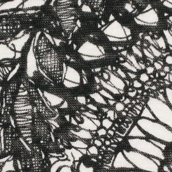 リネン×幾何学模様(ホワイト&ブラック)×天竺ニット_全2色 サムネイル1