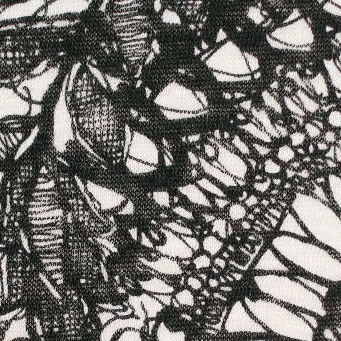 リネン×幾何学模様(ホワイト&ブラック)×天竺ニット_全2色 イメージ1