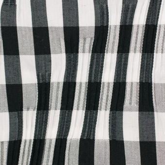 コットン&ナイロン混×チェック(ブラック)×タテタック