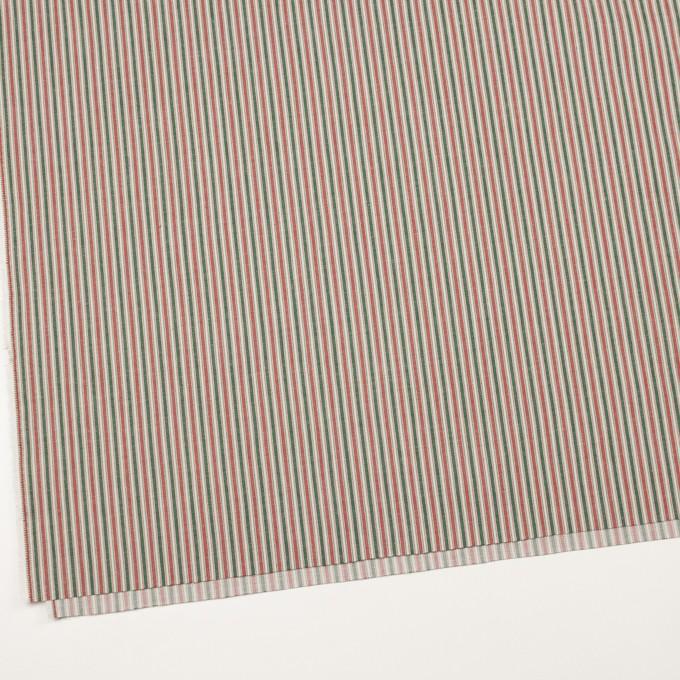 コットン&ポリウレタン×ストライプ(レッド&グリーン)×かわり織 イメージ2