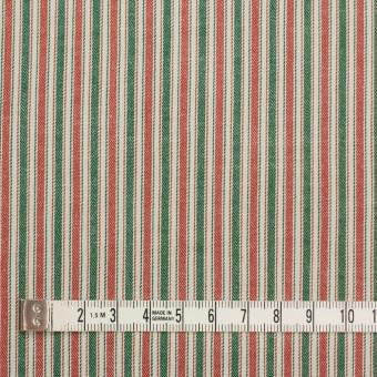 コットン&ポリウレタン×ストライプ(レッド&グリーン)×かわり織 サムネイル4
