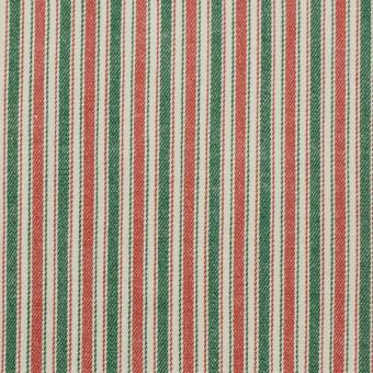 コットン&ポリウレタン×ストライプ(レッド&グリーン)×かわり織