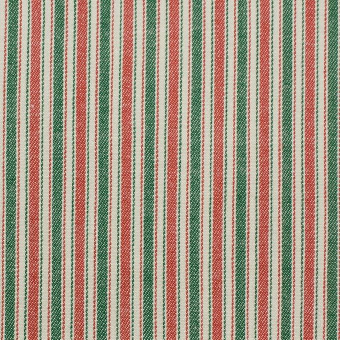 コットン&ポリウレタン×ストライプ(レッド&グリーン)×かわり織 イメージ1