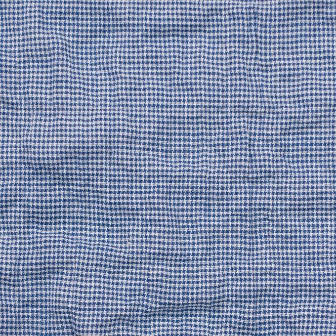 コットン&ポリウレタン×チェック(ブルー)×千鳥格子シャーリング_全2色 イメージ1