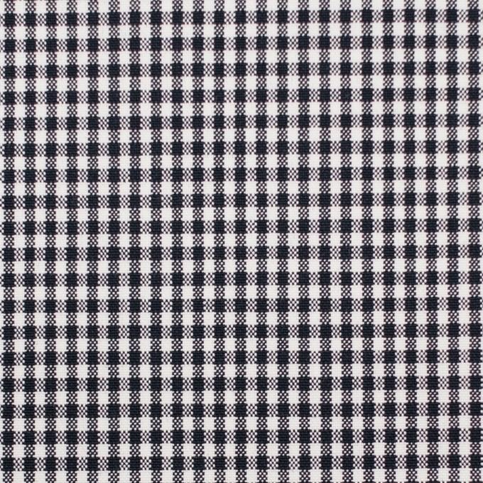 コットン&ポリウレタン×チェック(ダークネイビー)×ポプリンストレッチ_全3色 イメージ1