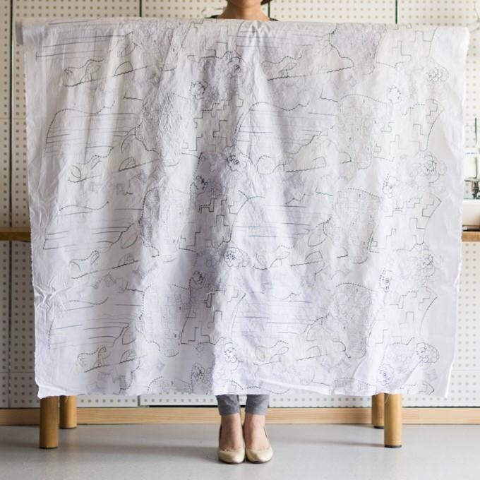 コットン×幾何学模様(ホワイト)×ローン刺繍_全3色_イタリア製 イメージ2
