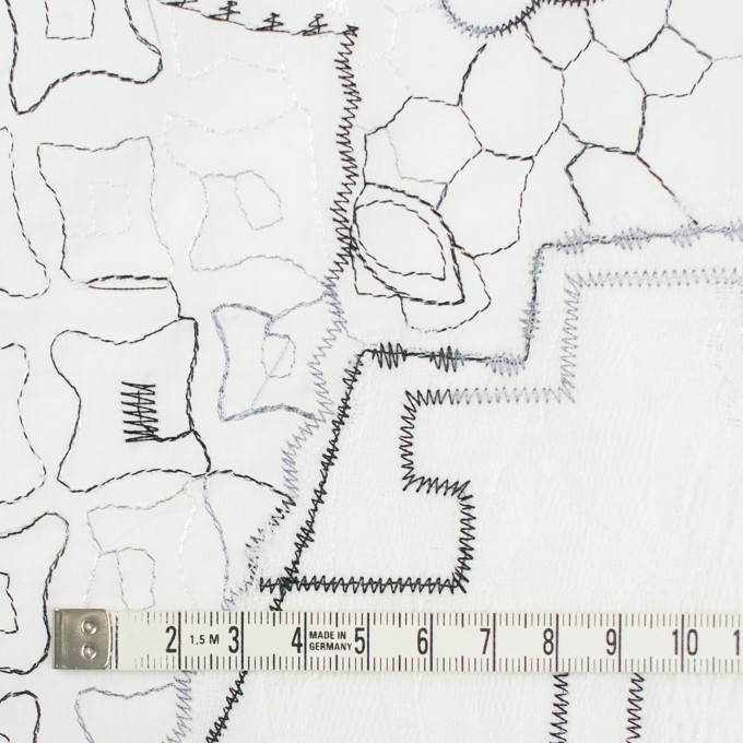 コットン×幾何学模様(ホワイト)×ローン刺繍_全3色_イタリア製 イメージ4