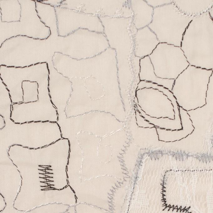 コットン×幾何学模様(ウォームベージュ)×ローン刺繍_全3色_イタリア製 イメージ1
