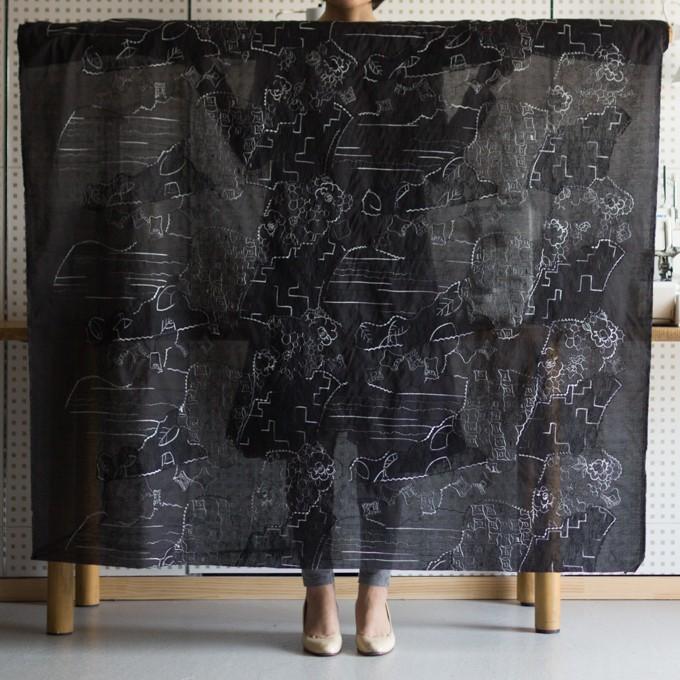 コットン×幾何学模様(ブラック)×ローン刺繍_全3色_イタリア製 イメージ2