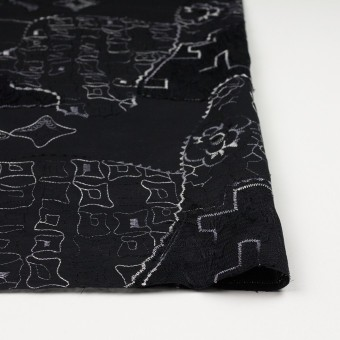 コットン×幾何学模様(ブラック)×ローン刺繍_全3色_イタリア製 サムネイル3