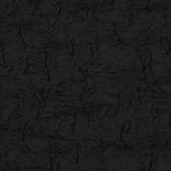 コットン&ナイロン混×無地(ブラック)×シャーリングメッシュニット_全4色
