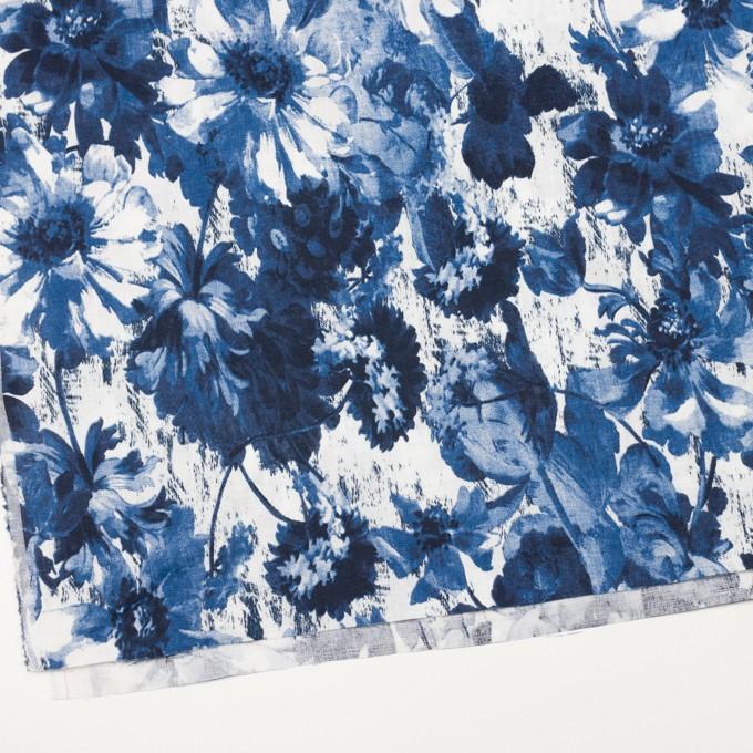 リネン×フラワー(ブルー)×薄キャンバス_イタリア製 イメージ2